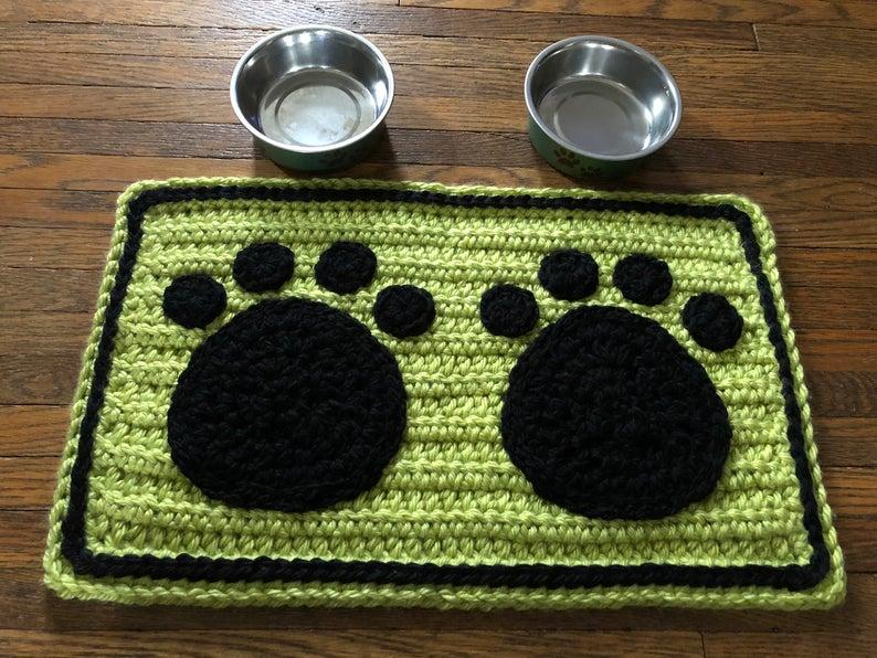 Crochet Pattern Paw Prints Pet Bowl Mat Pet Placemat Paw Prints Crochet Dog Cat Rug Mat For Bowls Rectangle Pet Mat Pattern Pet Bowl Mats Crochet Dog Paw Print