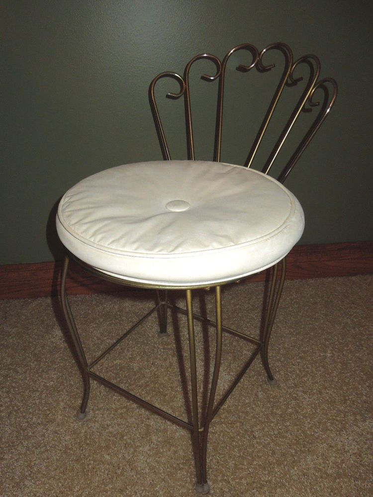 Vintage Hollywood Regency Metal Vanity Stool Makeup Chair White Vinyl Cushion