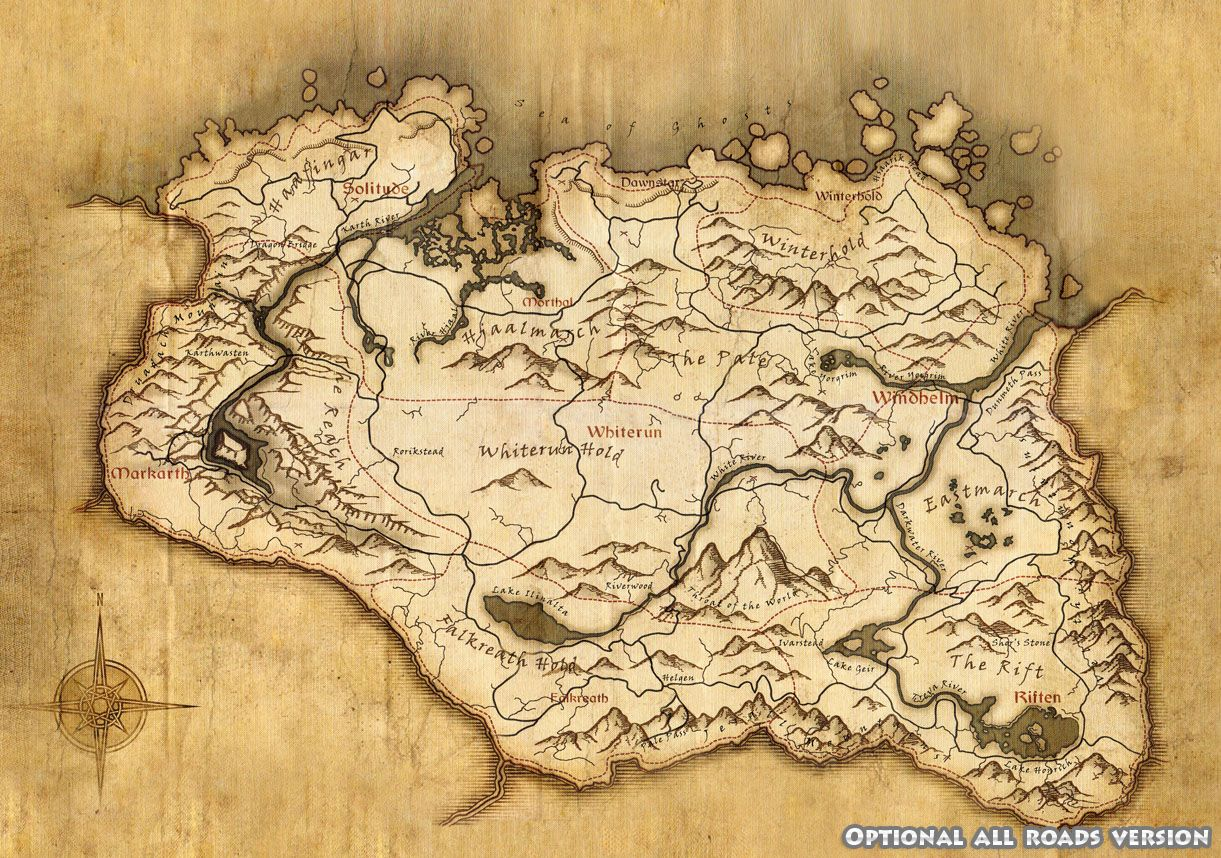 Map World Mouments%0A Skyrim World Map