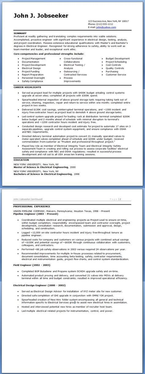 Electrical Engineer Resume Sample Doc (Experienced) Resume
