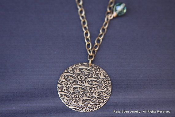 Brass Necklace Floral Necklace Antique Brass by redenjewelry, $56.00