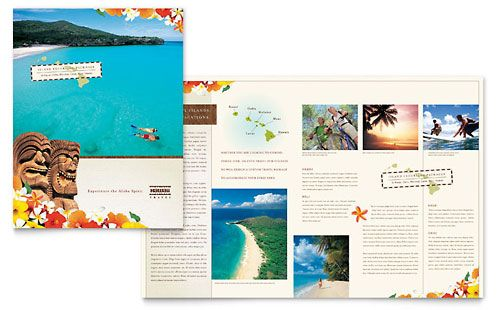 Hawaii Travel Vacation - Brochure Template Design Layouts - free bi fold brochure template word