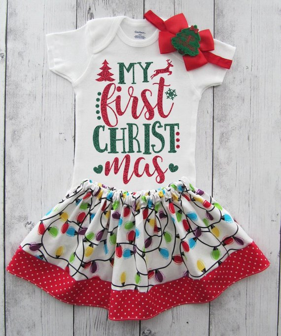 My First Christmas Outfit for Baby Girl in red and green glitter - 1st xmas  outfit girl 35819a3d42