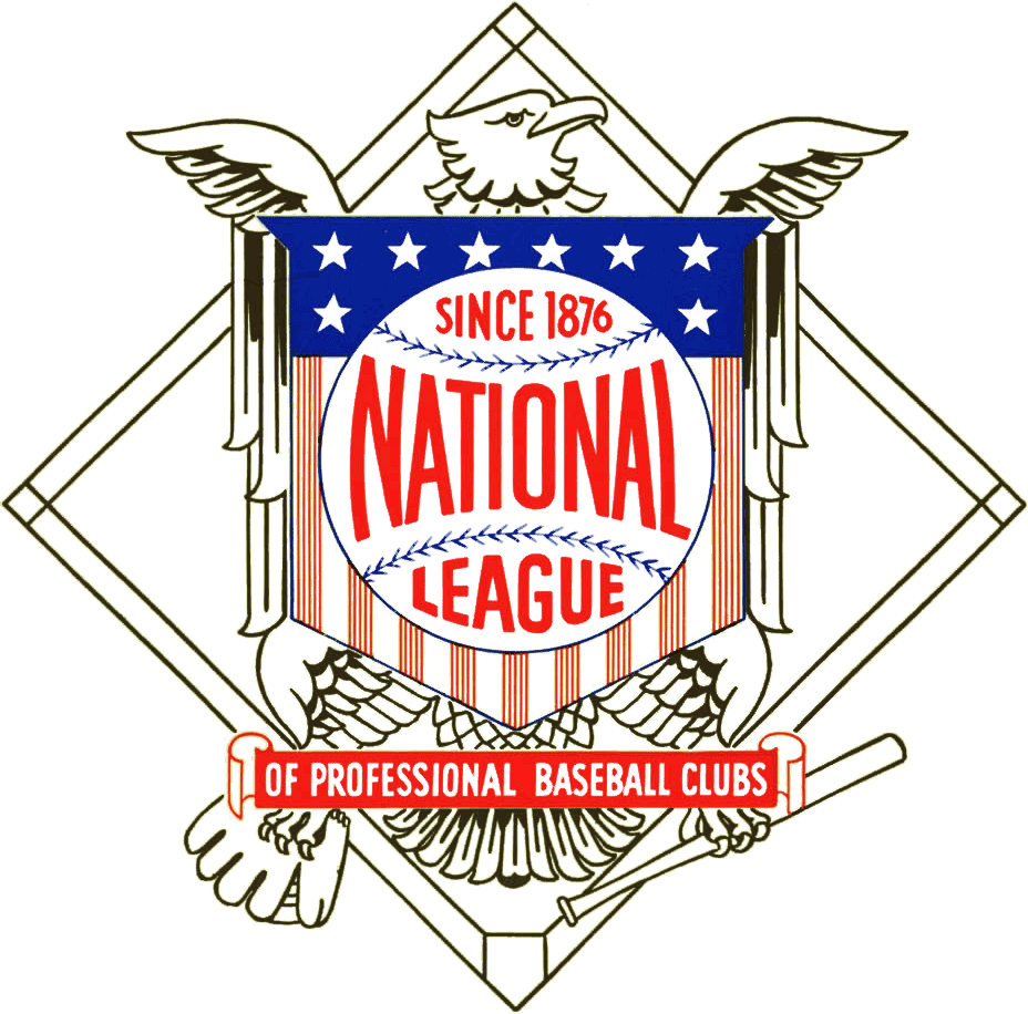 National League Primary Logo 1957 An Eagle Clutching A Baseball Bat In One Talon And A National League National Baseball League Major League Baseball Logo