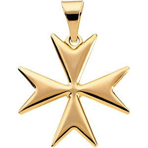 14kt Yellow Gold Maltese Cross Pendant With Packaging 1 99 Grams