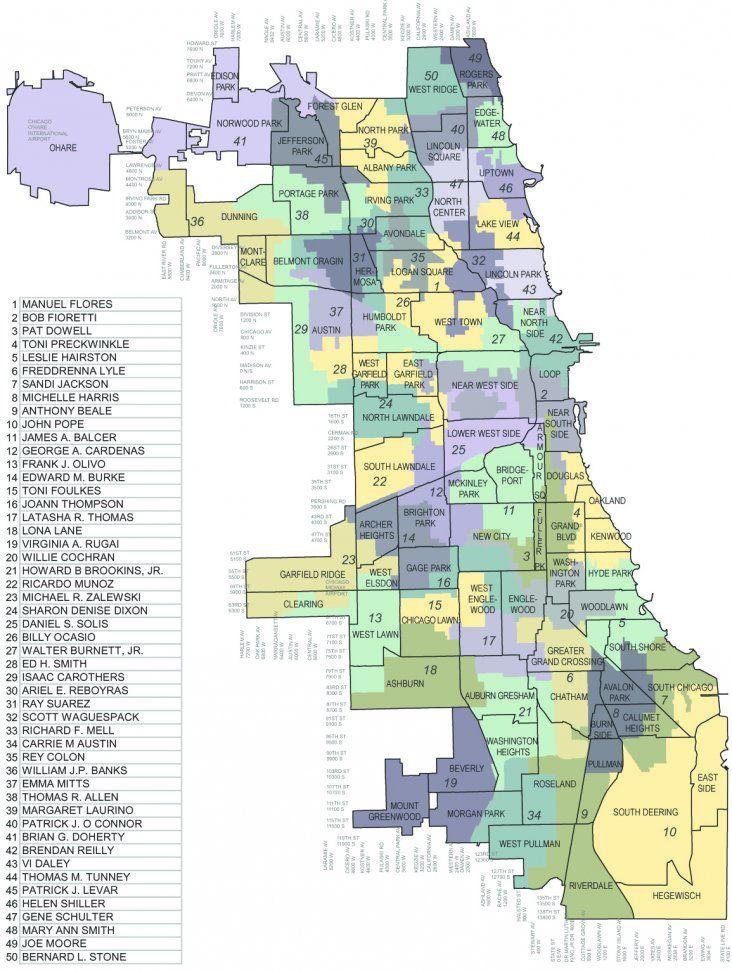 Chicago Alderman Map Chicago's 50 Aldermanic Wards   Chicago History & Maps   Chicago