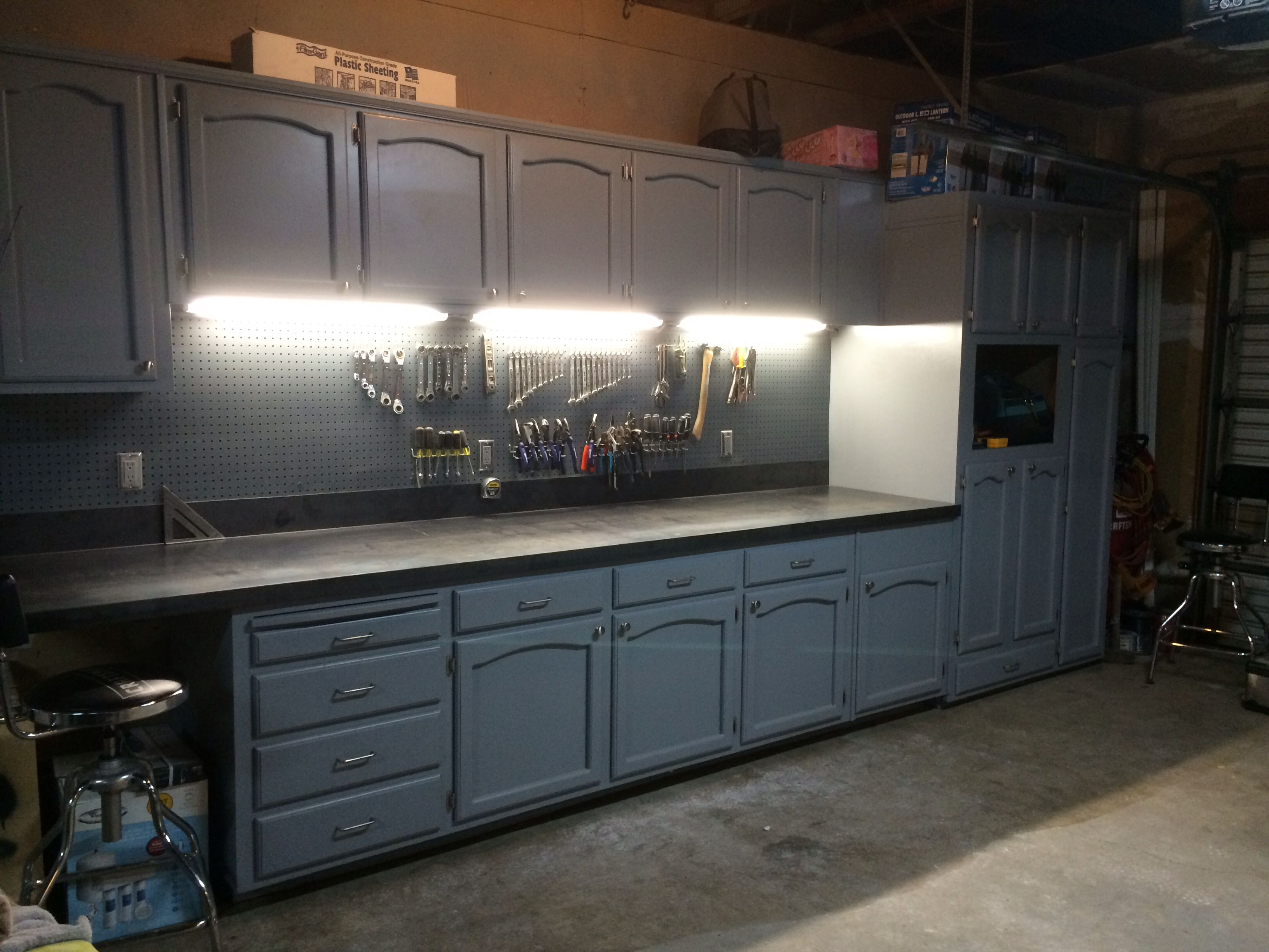 Refurbished kitchen cabinets for the ultimate work bench! | garage ...
