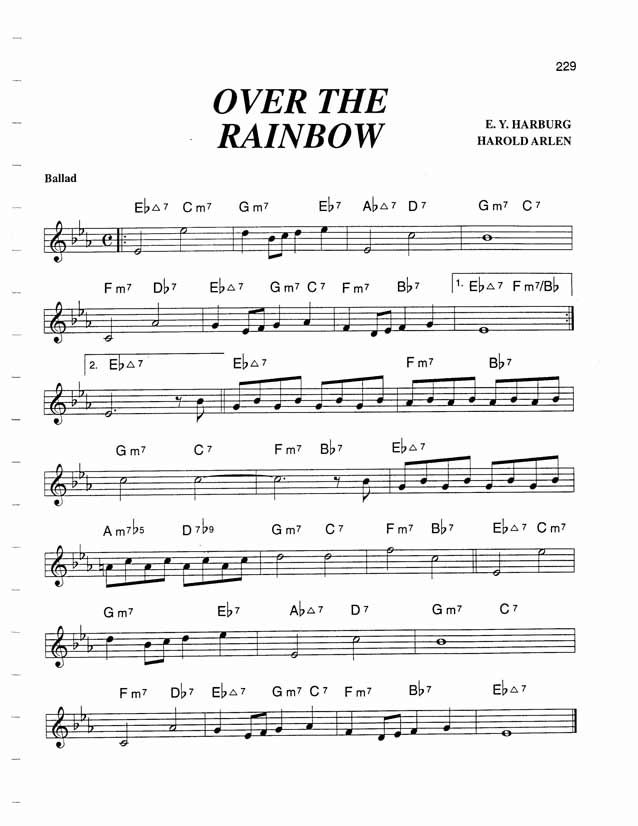 d96ba1570b77 Jazz Standard Realbook chart OVER THE RAINBOW Guitar Sheet
