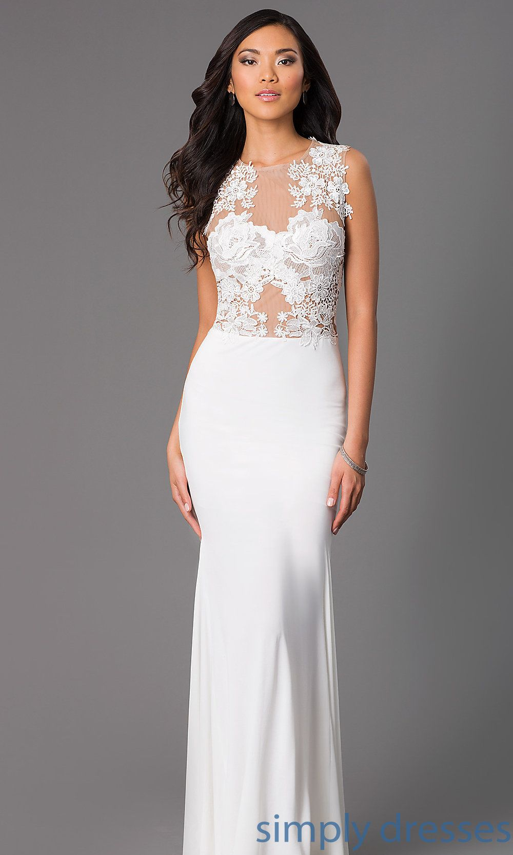 Cqdki lacebodice long formal ivory white prom dress lace