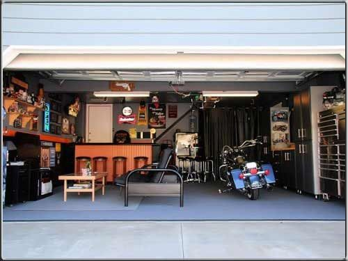 Diy Man Cave Accessories : Part 2 of motorcycle man cave inside a bay garage.