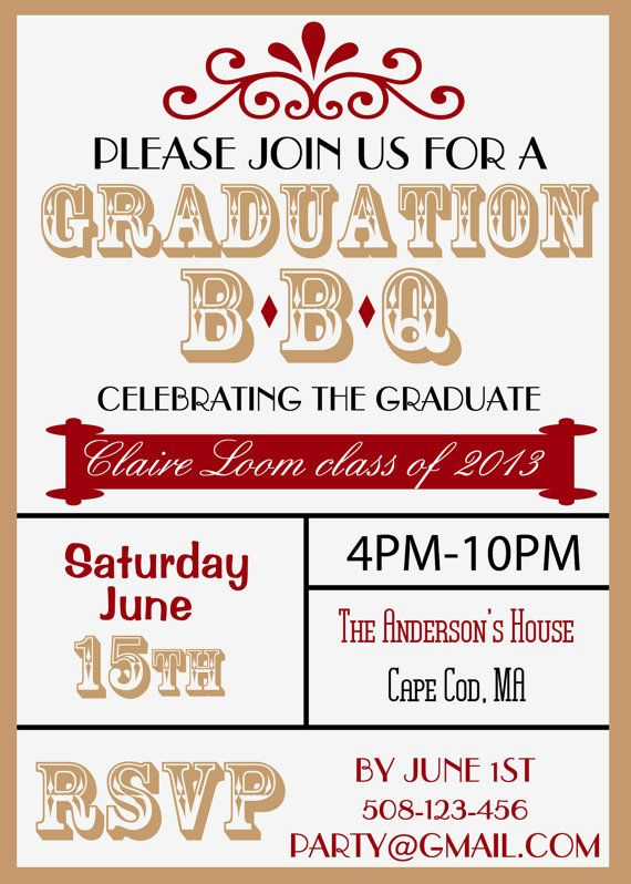 graduation bbq custom digital invitation can match school colors