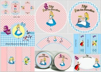 Alice In Pink And Light Blue Free Printable Party Kit Con