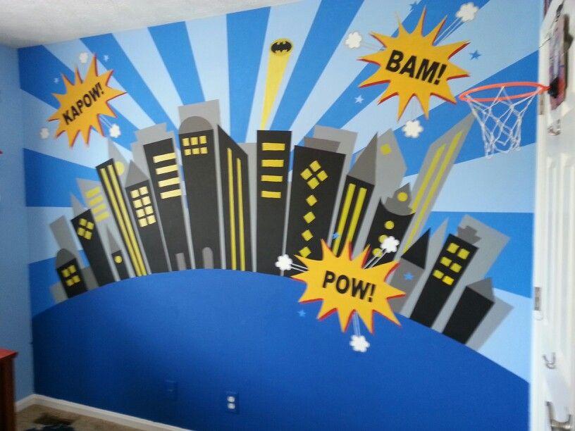 Superhero Wall Murals boys superhero wall mural. the bat signal and skyscraper windows