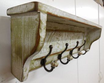Large Cottage Chic Coat Rack, Primitive Hat Rack, French Country Wall  Shelf, French Country Hall Tree, Rustic Mantle Shelf,antique Coat Rack.  $175.