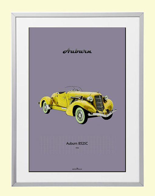 Coche clásico Auburn 852 SC. del año 1936. Cartel poster lámina A-3 ...