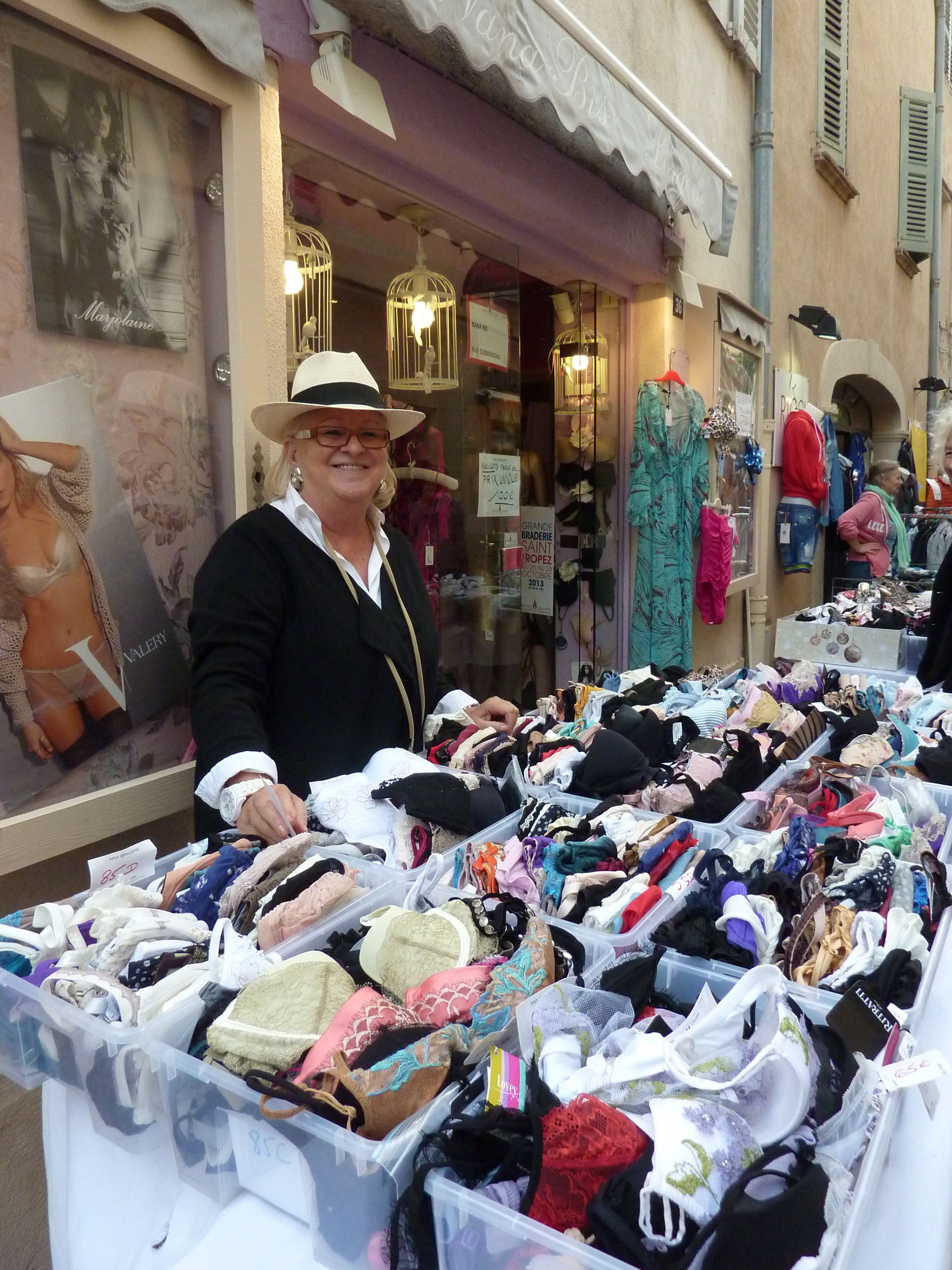 No shortage of bras for sale in St Tropez this autumn!