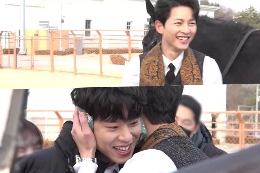 """Watch: Song Joong Ki And Kim Sung Cheol Get Embarrassed After Flirting On Camera In """"Vincenzo"""""""