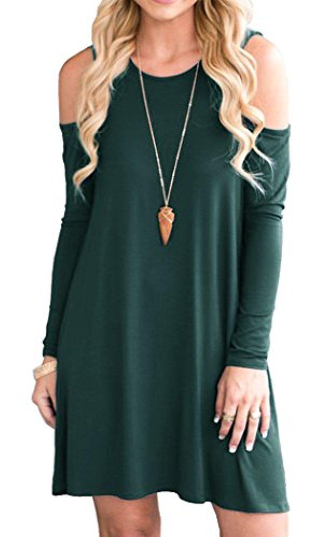 bcff2b737fb ... Waist:61cm,Hips:90cm) - Feature: Round neck, Cold Shoulder ,Short Sleeve,  Swing hem, tank top dress,Loose fit, tunic top dress, long Tshirt, ...