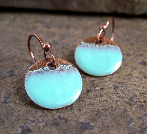 Seafoam Copper Enamel Disc Earrings Torch Fired Enamel Jewelry Enameling Jewelry Ceramic Jewelry
