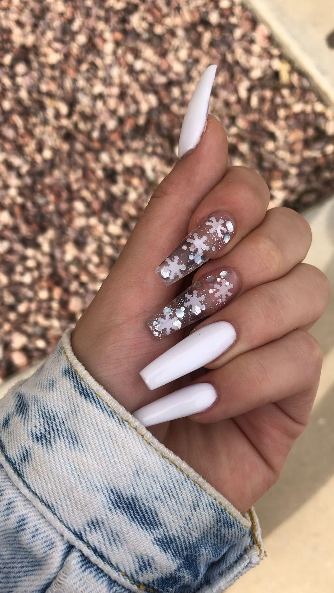 Long Winter Acrylic Nails Acrylic Long Nails Winter In 2020 Cute Acrylic Nail Designs Winter Nails Acrylic Best Acrylic Nails