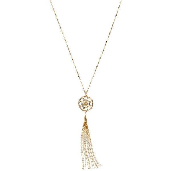 Goldtone Tassel Pendant Necklace with Detachable Tassel