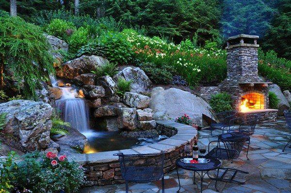 Garten Wasserfall Brunnen Beleuchtung | Garten/ Balkon | Pinterest ...