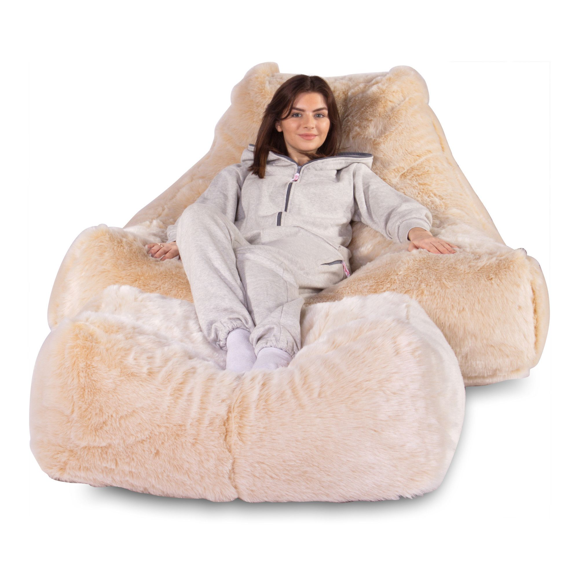 Mega Lounger Fur Bean Bag White Fox Fur Bean Bag Bean Bag Fluffy Bean Bag Chair