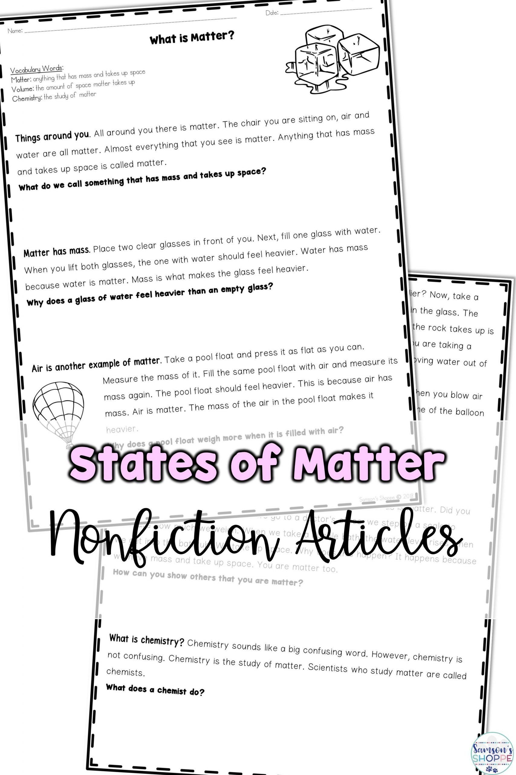 States Of Matter Worksheet Chemistry States Of Matter