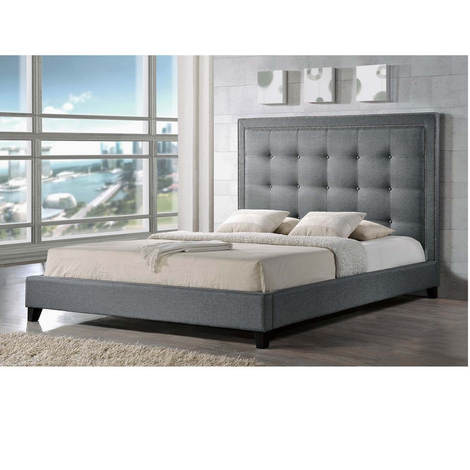 Baxton Studio Hirst Grey Linen Bed With Upholstered Headboard Queen