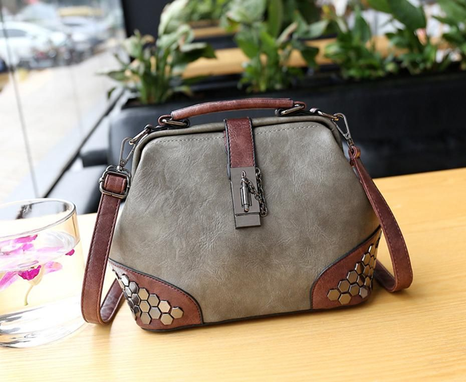Photo of Women Handbag Leather Small Doctor Bag Women Shoulder Bag Female Crossbody Handbag Lock Chain Rivets Girls Vintage Women Bags – Brown