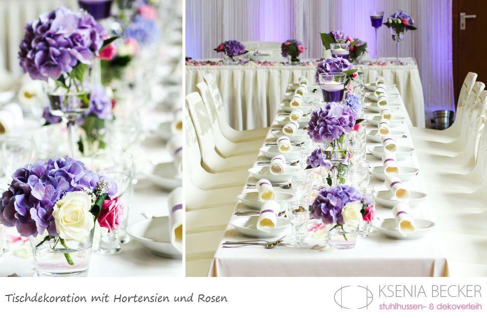 tischdekoration hochzeit glasvasen mit hortensien und rosen, Gartenarbeit ideen