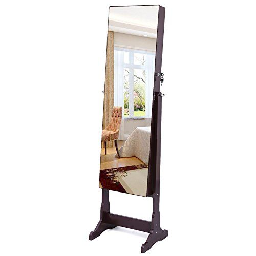 SONGMICS Lockable Cabinet Standing Jewelry Armoire Organizer with