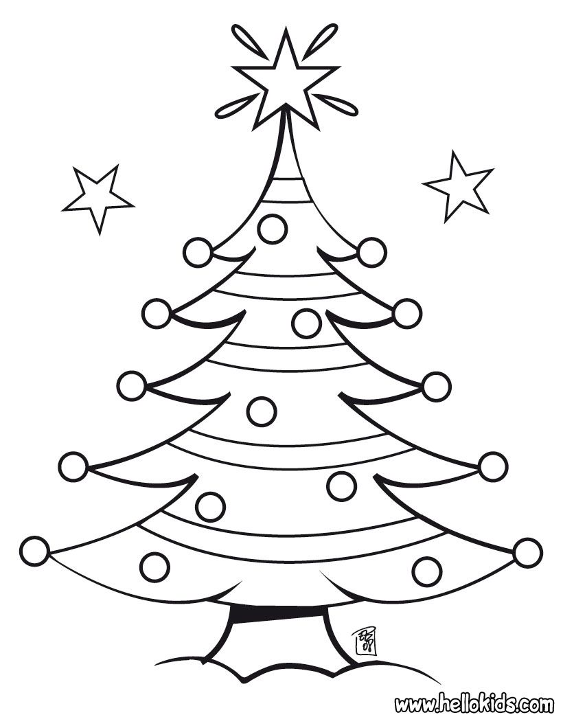 Decorated Christmas tree coloring page | Holiday\'s | Pinterest ...