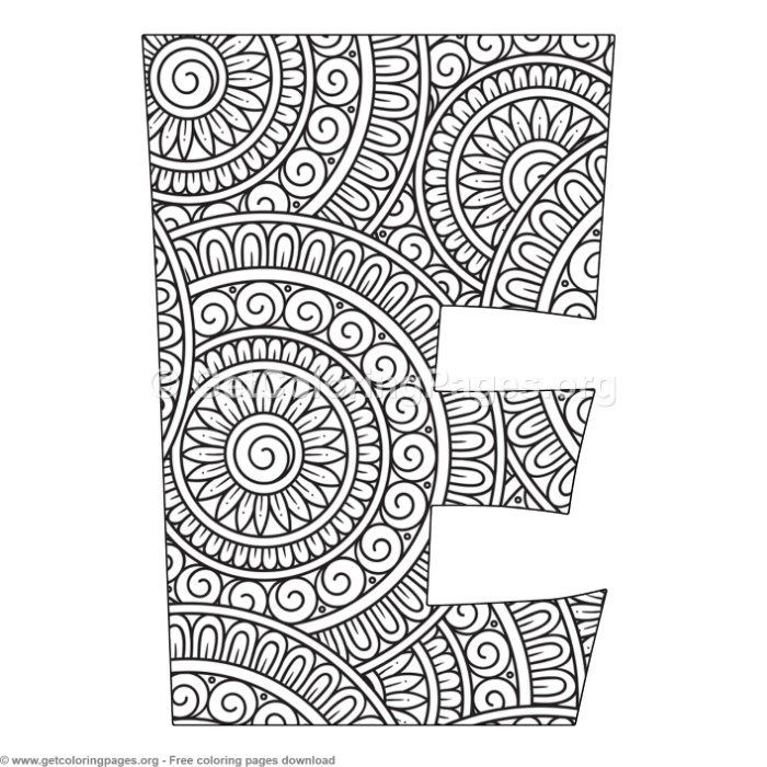 Mandala Alphabet Letters E Coloring Pages Free Instant Downloads