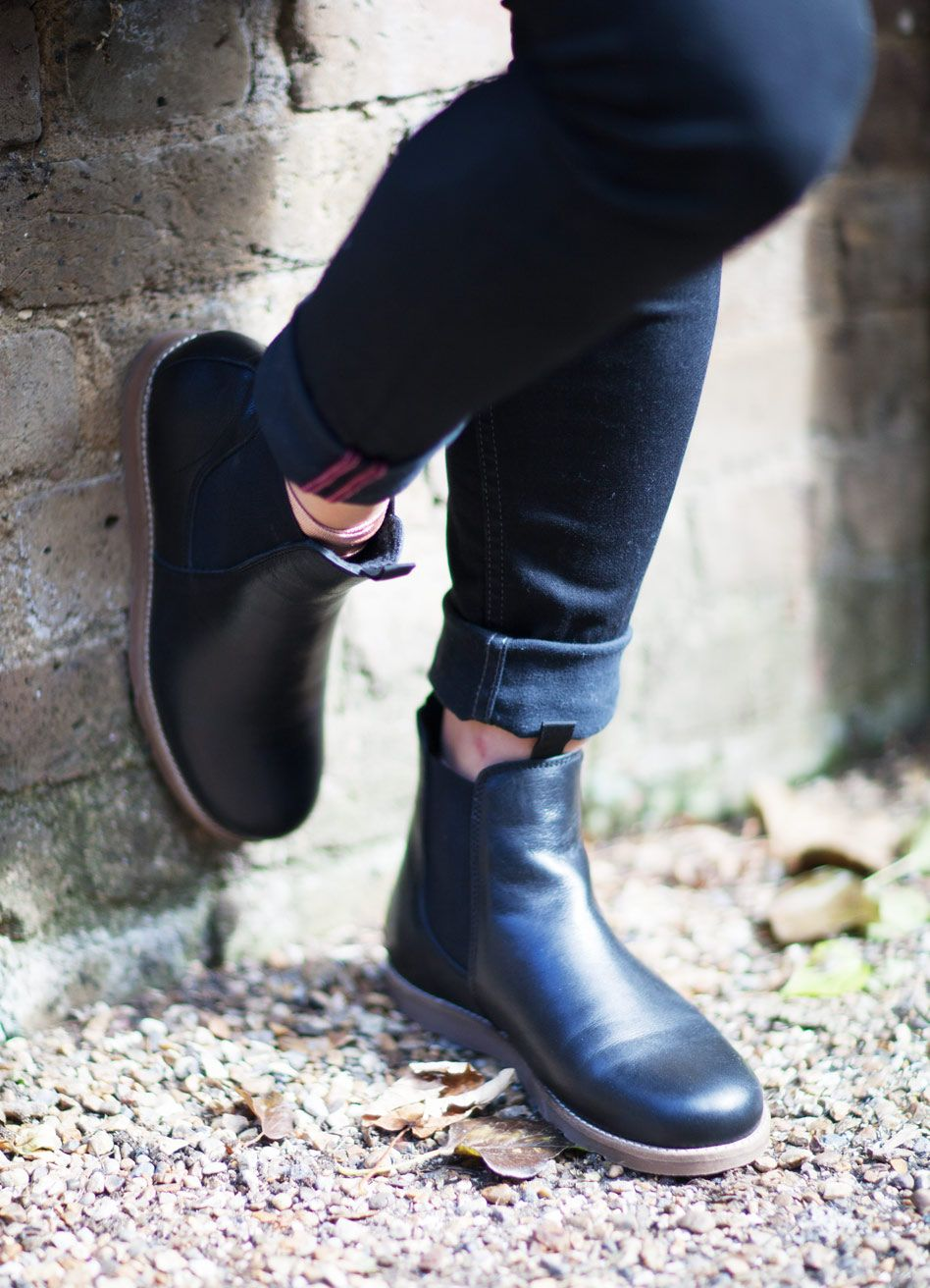 Ten Points Carol in Black. Flat comfortable Chelsea boots