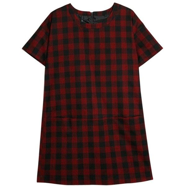 Mango Check Shift Dress, Bright Red (82 BRL) ❤ liked on Polyvore featuring dresses, vestidos, tops, short sleeve dress, short sleeve maxi dress, shift dress, maxi dresses and short-sleeve shift dresses