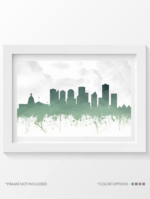 Edmonton Poster Edmonton Skyline Edmonton Cityscape Edmonton