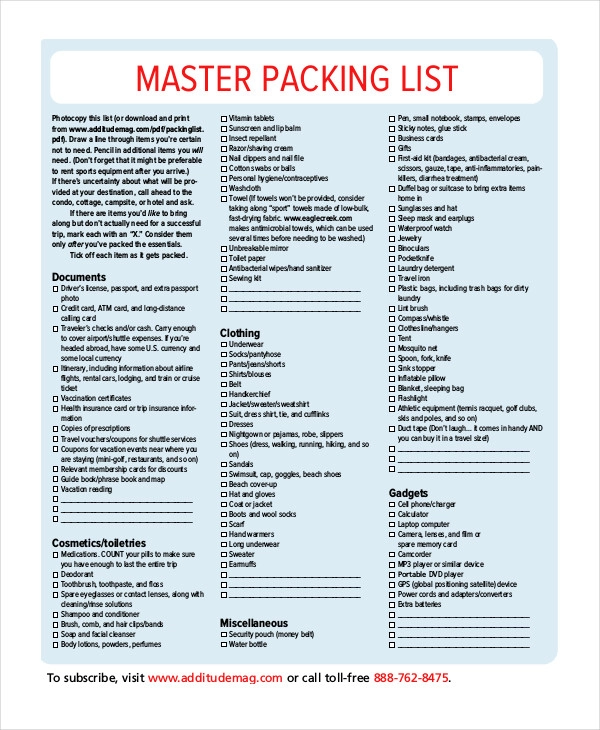 14 Free Word Pdf Documents Download Free Premium Templates Packing List Template Packing List For Travel Holiday Packing Lists