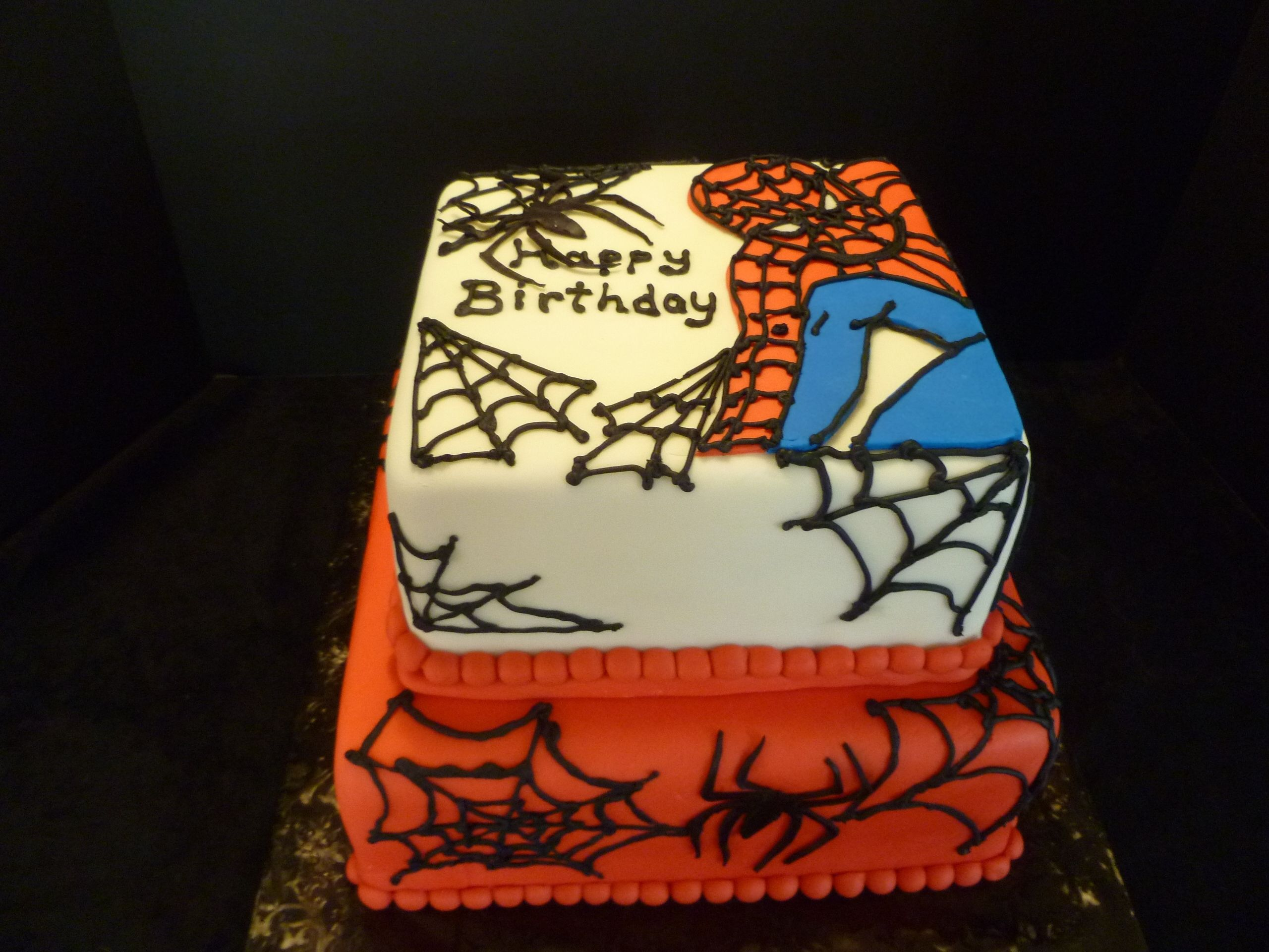"""Spiderman - A cake made to celebrate childrens' birthdays at a residential recovery center. Made as a member of Birthday Cakes 4 Free - MN. It was a stack of 10"""" and 8"""" square layers. Covered with MFF and decorated with MFF/gumpaste and royal icing. Thanks for looking!"""