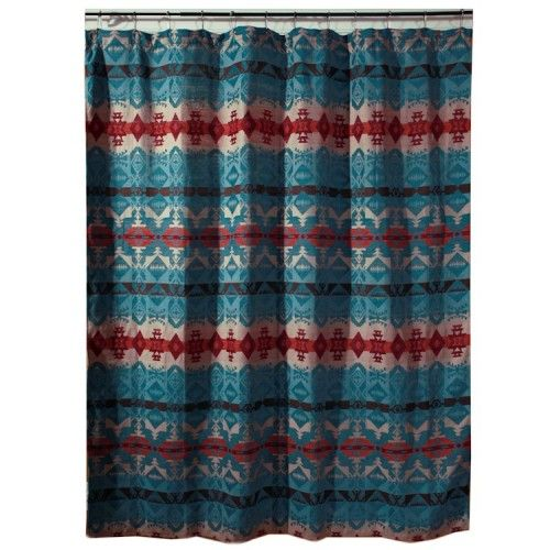 Turquoise Chamarro Shower Curtain Western Shower Curtain Southwestern Shower Curtains Southwest Shower Curtain