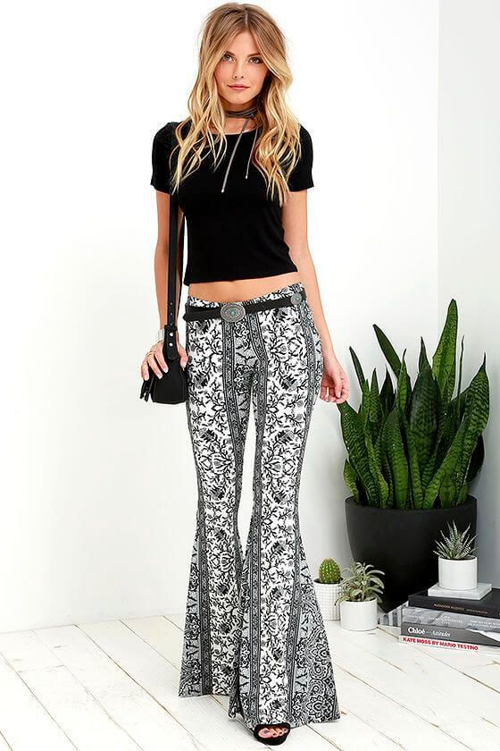 37fa6423966d Monochrome-Ensemble-with-a-Hippie-Look How to Wear Hippie Pants for Women -  25 Outfit Ideas