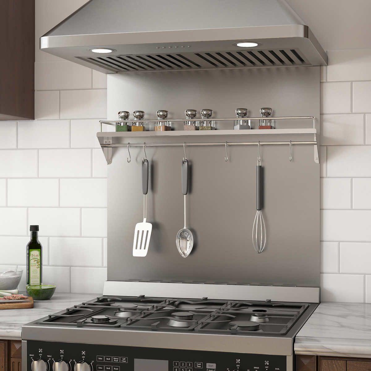 Ancona Stainless Steel Backsplash With Shelf And Rack Steel Backsplash Stainless Steel Kitchen Backsplash Stainless Steel Backsplash
