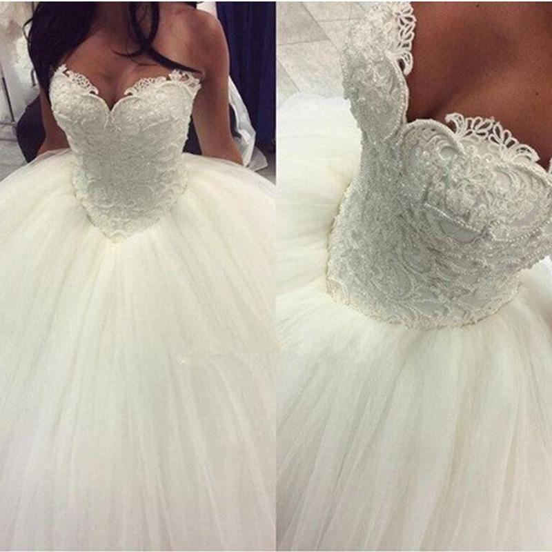 Glamorous Princess Corset Bridal Gown Custom Made Pearl Wedding Dress Ball Gown Lace Bridal Gowns Ball Gown Wedding Dress Ball Gowns Wedding Ivory Wedding Dress