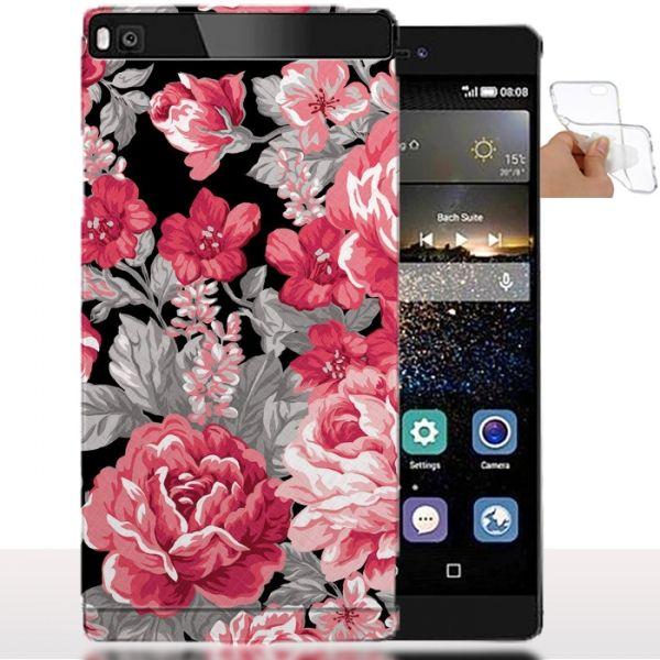 coque huawei p8 lite fleurs rose - housse silicone souple. #p8