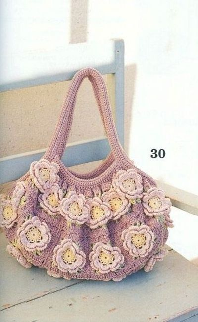 flower squares purse with diagrams, japanese diagram