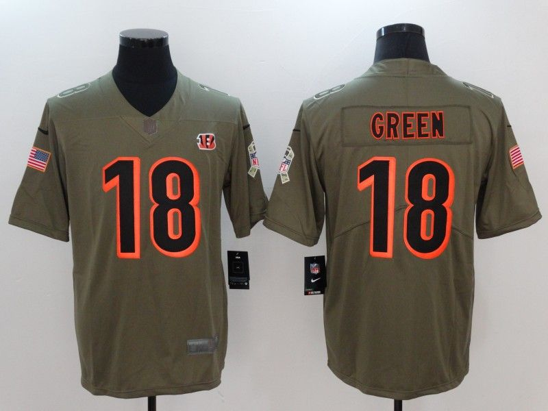2171f221e Men Cincinnati Bengals 18 Green Nike Olive Salute To Service Limited NFL  Jerseys