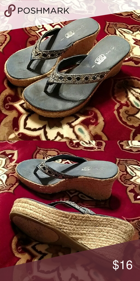 4c6f770bf4b2aa Blue wedge sandals Route 66 blue flip-flops with sequin strap and  espadrille wedge base. Used good condition. Insoles have some discoloration  from wear.