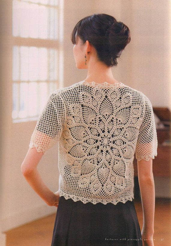 Japanese Crochet Pineapple Lace Cardigan Top By