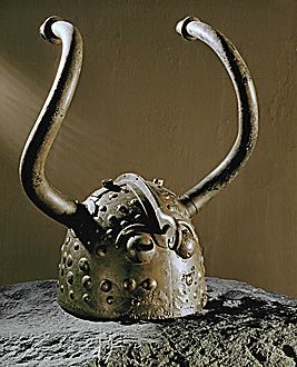 Bronze helmet, late Bronze Age (800-400 BCE) from Veksoe-Bog, Denmark - this is where the idea of the horned Viking helmet comes from. Viking helmets never had horns, except in a Wagner opera.