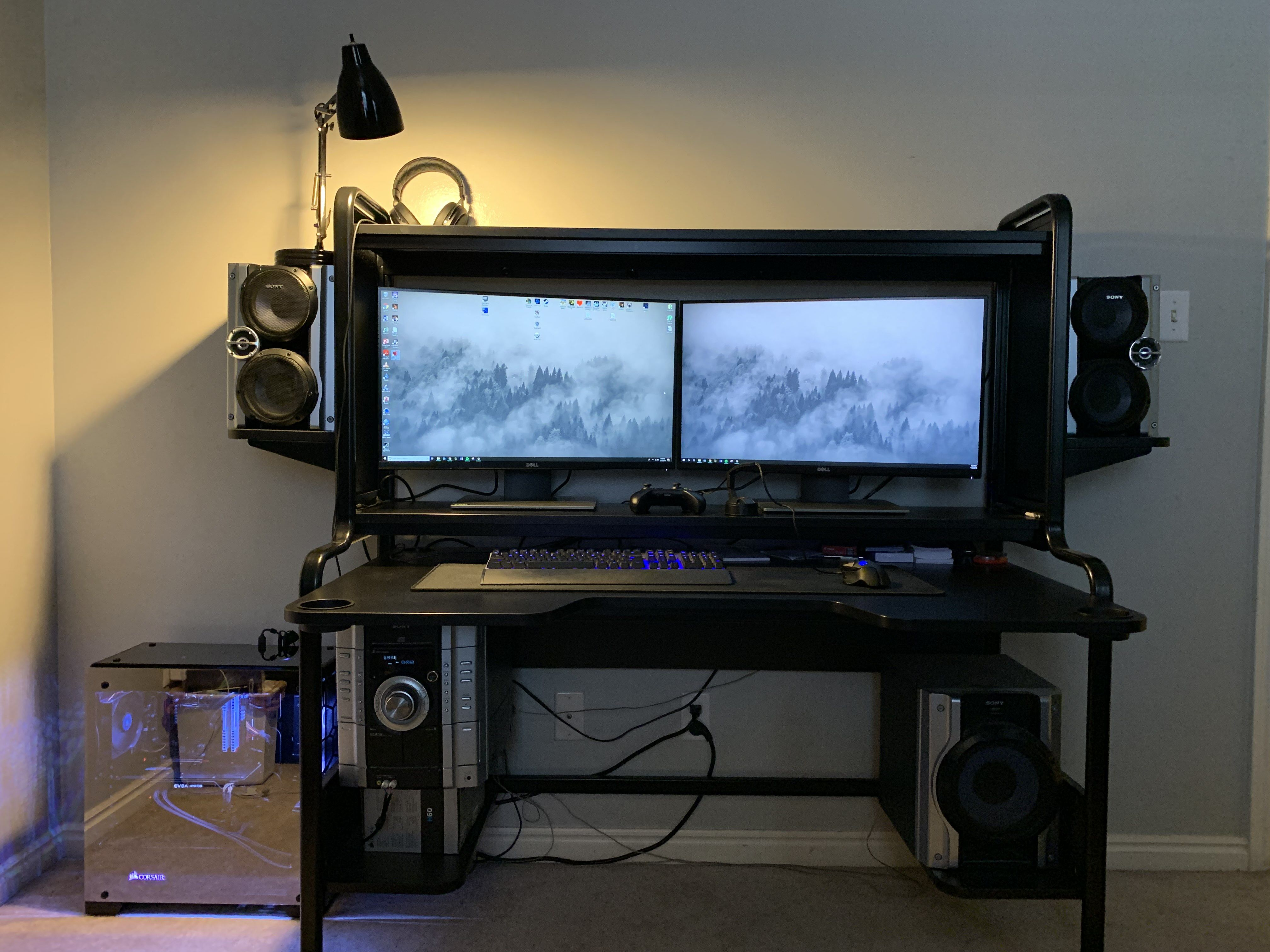 I Ll Be Honest I M Super Happy With The Ikea Fredde Desk Couldn T Be More Delighted With My Setup Gaming Desk Video Game Rooms Computer Gaming Room